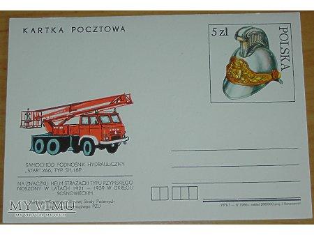 Kartka pocztwa wóz strażacki na podwoziu Stara 266