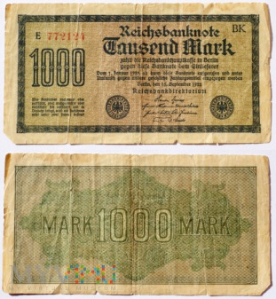Niemcy, 1000 marek 1922r. Ser.E