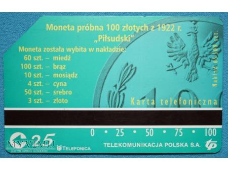 Moneta Próbna 100 złotych z 1922 r. Piłsudski