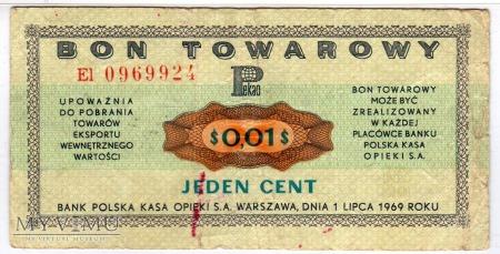 Bon Towarowy PeKaO - B11a - 1 Cent - 1969
