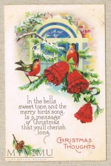 1933 Wesołych Świąt dzwonki ptaszki okno igliwie
