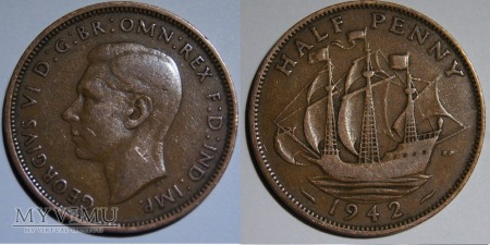 Wielka Brytania, half penny 1942r