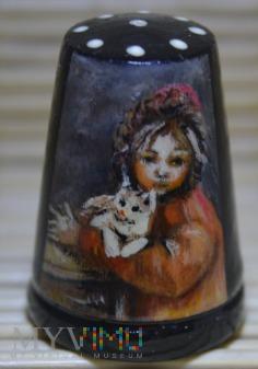 Naparstek -portret dziewczynki z kotem