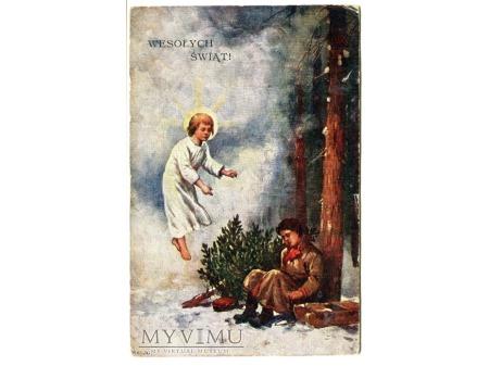 Duże zdjęcie 1931 Wesołych Świąt Anioł Stróż śpiące dziecko