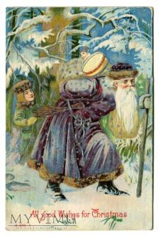 c. 1910 Święty Mikołaj Blue Robe Santa Claus