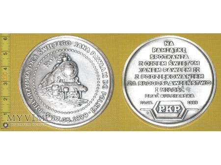 Duże zdjęcie Medal kolejowy - społeczny ze spotkania z JP II