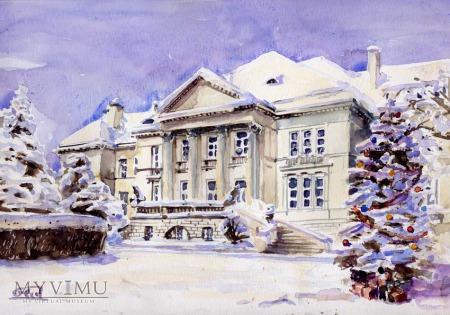 Otwock Kasyno - Liceum Ogólnokształcące zimą