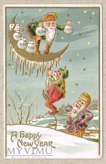 1910 Nowy Rok gnomy księżyc i worki z kasą