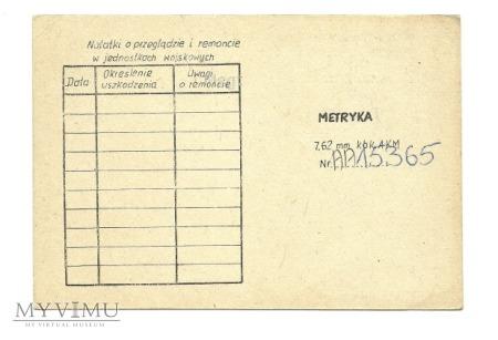 METRYKA 7,62 mm kbk AKMS Nr AA 15365