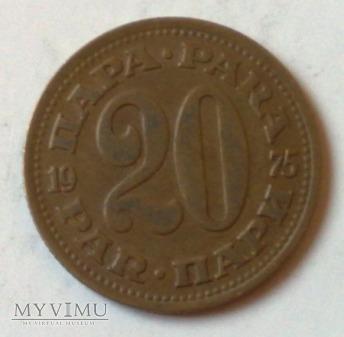 Moneta Jugosławia 20 para 1975