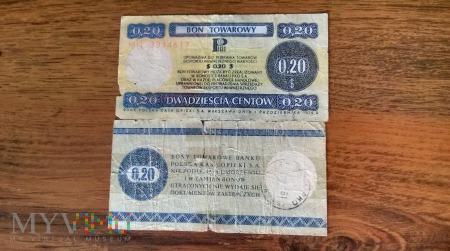 Bon Towarowy 0.20$ 1979r.