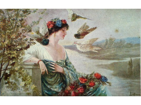 Duże zdjęcie 1920 Pocztówka jako Polecony gołębie i list