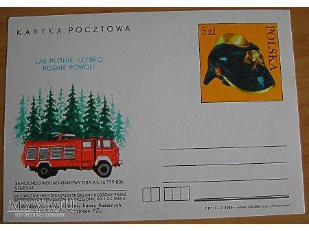 Duże zdjęcie Kartka pocztwa wóz strażacki na podwoziu Stara 244