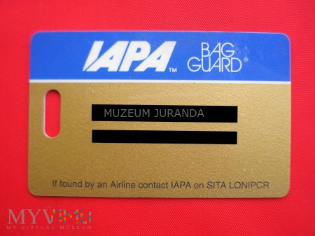 Duże zdjęcie Karta bagażowa IAPA