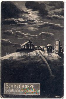 Karkonosze Śnieżka nocą Schneekoppe 1909