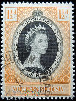 Duże zdjęcie Rodezja Północna 1½ d Elżbieta II koronacja