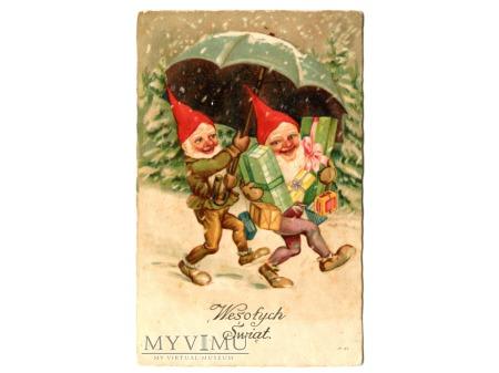 Krasnale z prezentami i parasol pocztówka c. 1910