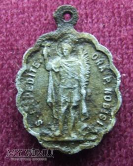 Stary medalik ze św. Ekspedytem i św. Rochem