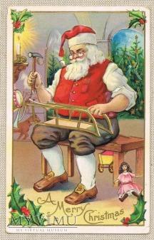 c. 1909 Mikołaj w swoim warsztacie naprawia sanki