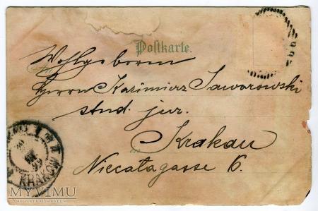 """1899 Zielone Świątki pocztówka """" pod światło """""""