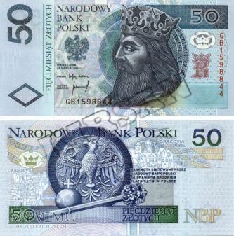 Banknot 50 zlotych 1994 r