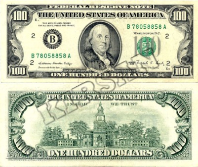 Banknot $ 100.00 1988 r