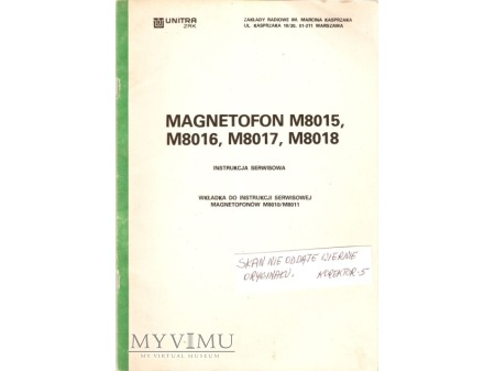 Instrukcja serwisowa magnetofonu M-8015, do 18