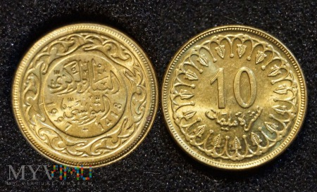 Tunezja, 10 millimes 1997
