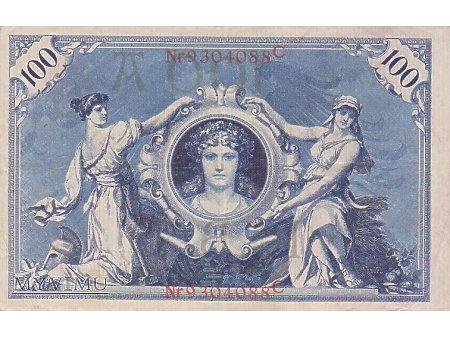 100 Reichsbanknote 7 luty 1908 rok.