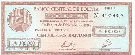 Boliwia - 100 000 pesos (1984)