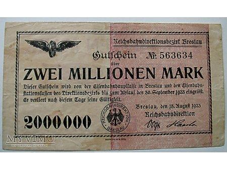 Wrocław- Pieniądz zast 2000000 M- KOLEJOWY- 2 szt