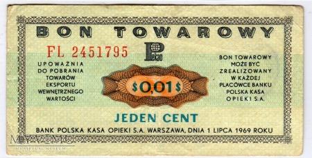 Bon Towarowy PeKaO - B11b - 1 Cent - 1969