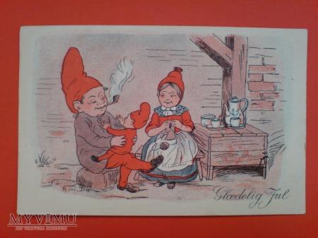 Duńskie krasnale Nowy Rok 1938 Skrzat i fajka
