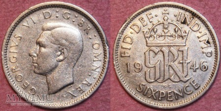 Wielka Brytania, SIX PENCE 1946