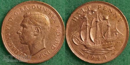 Wielka Brytania, half penny 1944