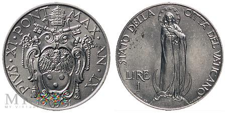 Duże zdjęcie 1 lir, 1931, moneta obiegowa