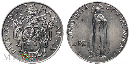 1 lir, 1931, moneta obiegowa