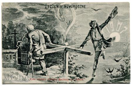 Duże zdjęcie 1906 Życzenia Noworoczne Nowy i Stary Rok..