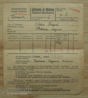 nakaz dostawy, GG, rok 1941