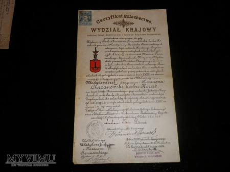 Duże zdjęcie Herb Korab -Certyfikat Szlachectwa Chrzanowski