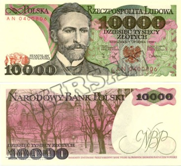 Banknot 10000 zlotych 1988 r