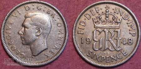 Wielka Brytania, SIX PENCE 1948