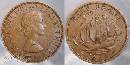 Wielka Brytania, half penny 1964