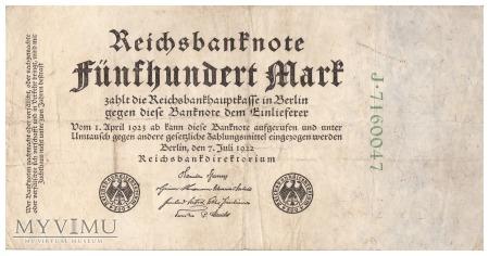 Niemcy - 500 marek (1922)