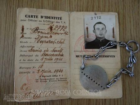 Duże zdjęcie Nieśmiertelnik i dokument żołnierza B.S.K.