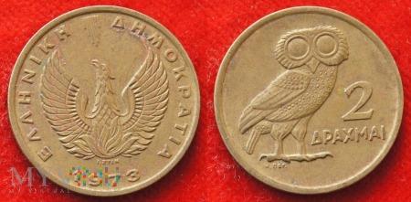 Grecja, 2 Drachmy 1973