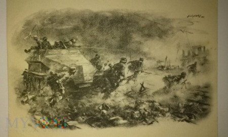 WHW pocztówka grenadierzy pancerni atakują dworzec