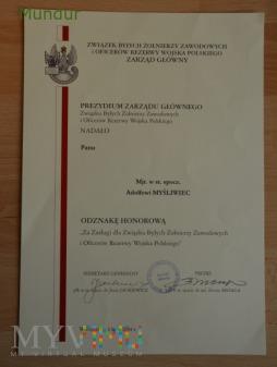 Dyplom do medalu pamiątkowego ZBŹZ i OR WP