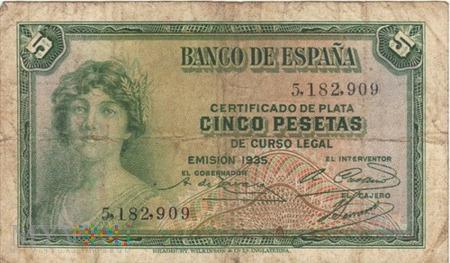 HISZPANIA 5 PESETAS 1935