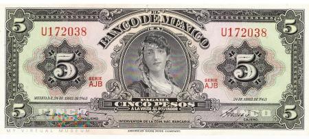 Meksyk - 5 pesos (1963)